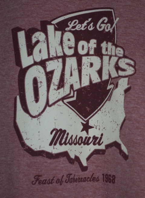 ITEM 004 - Classic 1968 Feast of Tabernacles T-Shirt (XL by 1968 standards) from the Lake of the Ozarks - Donated by Mrs. Genie Ogwyn (Showing Detail of Print)