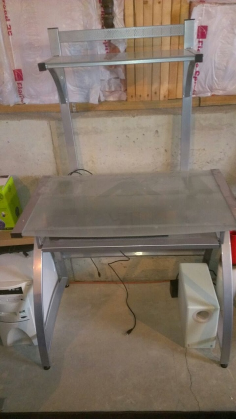 ITEM 015 - Metal and glass desk with keyboard tray. Note: Like new condition.