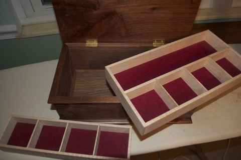 ITEM 009 (view of removable trays) - High quality, handcrafted jewelry box, by Steve Woolley