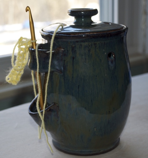 ITEM 002 - Handcrafted Knitting and Crochet Work Urn by Matthew Kidney (for holding needles and yarn)